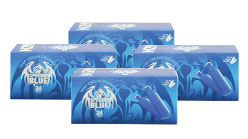 4 boxes of 24 Special Blue 8g Nitrous Oxide Chargers